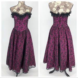 Jessica McClintock Gunne Sax Prom Dress Midi Lace
